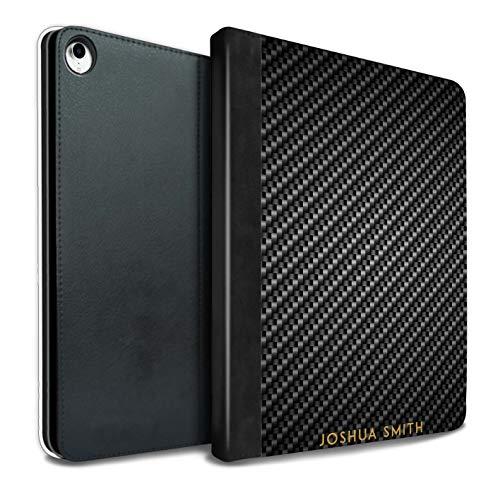 eSwish Personalisiert Kohlenstoff-Faser Muster PU-Leder Hülle für iPad Pro 10.5 (2017) / Grau Stempel Design/Initiale/Name/Text Tablet Schutzhülle/Tasche/Etui (Kohlenstoff-faser-buchstaben)