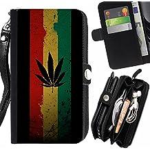 Graphic4You Marijuana Cannabis Fumadores Diseño Carcasa Funda Monedero Con Cremallera y Correa de Muñeca Para Samsung Galaxy A3 (2016)