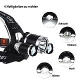 ProGreen 3x CREE XM-L T6 LED einstellbare LED Stirnlampe, superhell, 6000k, 5000lm, 4 Helligkeiten zu wahlen, inklusive wiederaufladbare Batterien, LED Kopflampe, Kopfleuchte, Fahrradlampe, geeignet für Laufen, Radfahren, Camping und Wanderung Jagd - 2