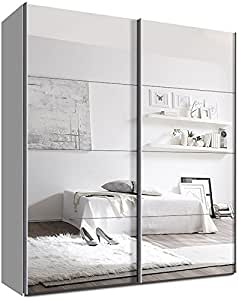 schwebet renschrank schiebet renschrank ca 200 cm breit weiss und spiegel kleiderschrank. Black Bedroom Furniture Sets. Home Design Ideas