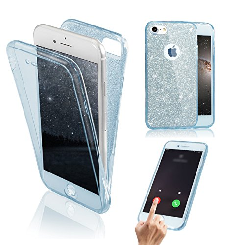 Transparent Coque pour iPhone 5 5S SE TPU Silicone Etui Coque de Protection en TPU avec Absorption de Choc Bumper et Anti-Scratch Hull Couverture pour iPhone 5 5S SE Soft TPU Housse,Vandot [Full Prote Paillette-Bleu