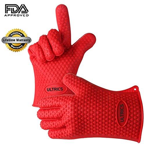 Hitzebeständige Silikon Grillhandschuhe ULTRICS® Silikon Grillhandschuhe Hitzeresistente ( 2 Stück ) Grillen Handschuhe, Topflappen oder sogar Camping , Backhandschuhe aus hitzebeständigem Silikon für Küche und Grill- ROT - Silikon-grillen-handschuhe