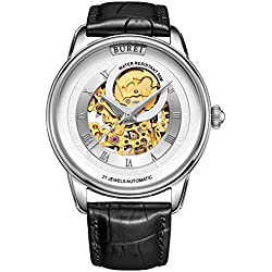 BUREI Men's Automatic Mechanical Watch with Sapphire Crystal Gold Tone Skeleton Metal Dial and Black Leather Strap