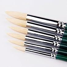 Punta de cerdas cepillo redondo arte pintura pinceles para acrílico, aceite, acuarela suministros, Set de 6pinceles de artista para los niños, artistas, profesores.