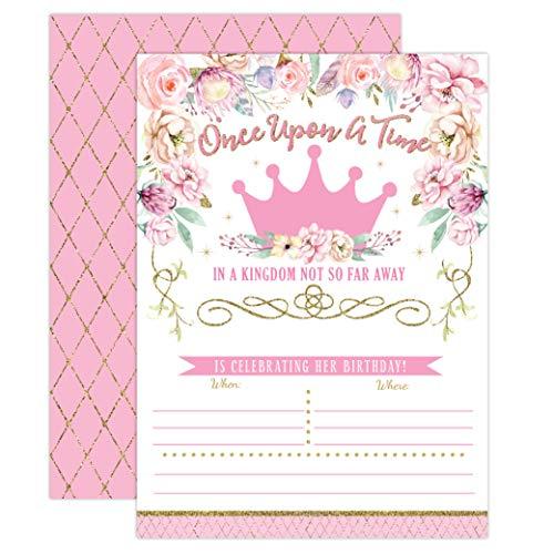 Prinzessin Geburtstag Einladungen, Mädchen ersten Geburtstag Princess Party lädt, Rosa und Gold 1. Geburtstag, 20Füllen in Stil mit Umschlägen (Einladungen 1. Princess Geburtstag)