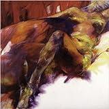 Töpfer Jutta Leidenschaft Kunstdruck mit Leinenprägung Akt-Gemälde nackte Frau 98x98 cm
