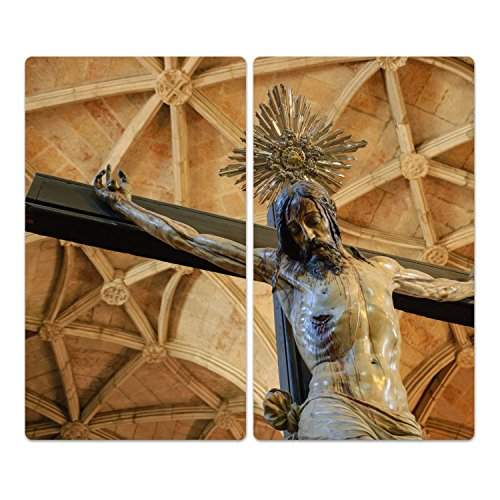DekoGlas Herdabdeckplatten Set inkl. Noppen aus Glas 'Kruzifix', Herd Ceranfeld Abdeckung, 2-teilig universal 2X 52x30 cm