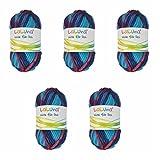 5er Pack Filzwolle Fancy blau, rot 250 g 100% Schurwolle, Wolle zum Stricken und Filzen