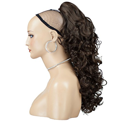 Elegant Hair - 43 cm / 17 pouces queue de cheval frisé – Brun chocolat #8 - Clip-in pièce de extensions de cheveux réversible - Avec griffe-clip - 30 Couleurs - 250g