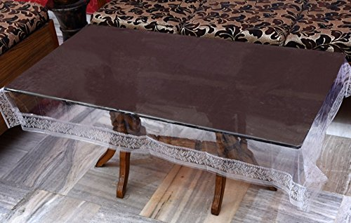 Yellow Weavestm Transparent Center Table Cover 4 Seater 40X60 Inches (White Lace)