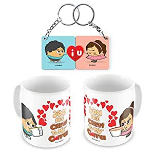 Coffee Mug Pair and Couple Keychain Combo Gift for Him Her Love