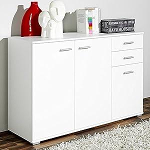 CSSchmal Sideboard mit 3 Türen 2 Schubladen Weiß Highboard Kommode Standschrank Mehrzweckschrank Anrichte Typ 100 - Modellauswahl