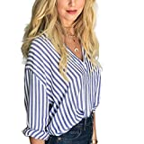 Frauen blau und weiß gestreiftes Hemd Button Front Pullover Bluse Langarm Herbst Top Minzhi