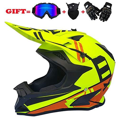 XIUYJBD Motocross Helm Road Racing Helm Erwachsene MTB Helm/Schutzbrille/Maske/Handschuhe D.o.t Certified Schutzhelm Sturzhelm