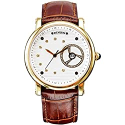 BINLUN Mens 18k Gold Watches Waterproof Automatic Mechanical Watch Men with Large Face Brown Leather Strap