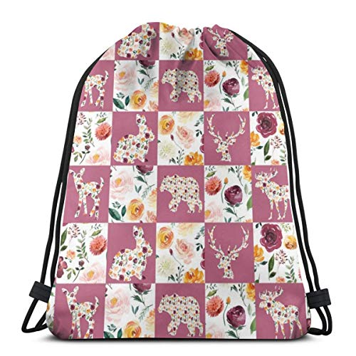 beautiful& Autumn Watercolor Floral Silhouettes Quilt 6 Squares_6895 3D Print Drawstring Backpack Rucksack Shoulder Bags Gym Bag for Adult 16.9