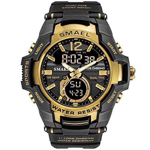 Herren Sportuhr Draußen Laufen wasserdichte Militäruhren 5ATM, stoßfeste LED-Hintergrundbeleuchtung-beiläufige Armbanduhren für Männer (Gold) (Männer Schwarz Für G-shock Uhren)