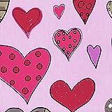 Baumwollstoff | Große Herzen (Rosa Pink - Neue Farbe) |