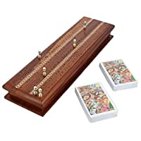 Handgemachte Cribbage-Spiel-Set mit 2 Decks von Karten und 6 Metall-Heringe - integrierte Speicher - tolles Geschenk für Kartenspieler