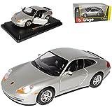 Bburago Porsche 911 996 Carrera Coupe Silber 1997-2006 1/24 Modell Auto mit individiuellem Wunschkennzeichen