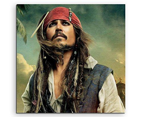 Pirates Of The Caribbean Captain Jack Sparrow Leinwandbild in 60x60cm Made in Germany! Preiswerter fertig gerahmter Kunst-Druck zum Aufhängen - tolles und einzigartiges Motiv. Kein Poster oder Plakat! (Sparrow Ware Jack)