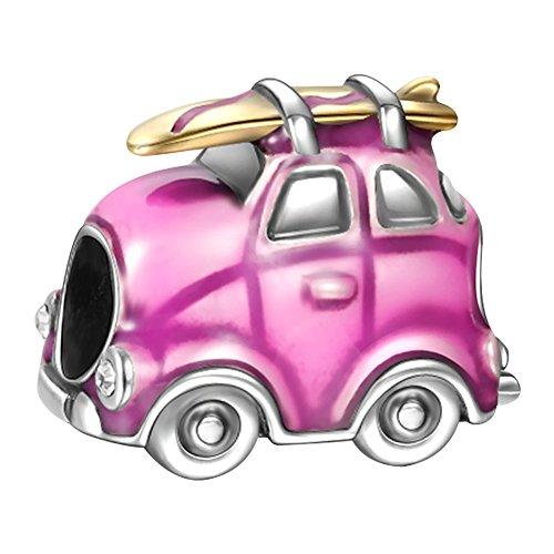Soufeel Damen Beads Charms Anhänger Trailer Emaile Reisen Wohnwagen Rosa 925 Sterling Silber Geburtstag Geschenk für Freundin Mutter Tochter
