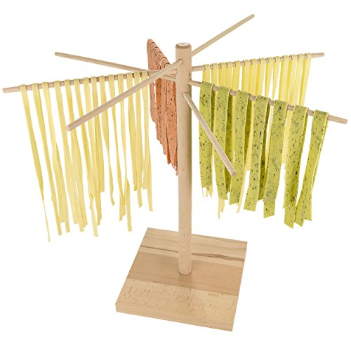 Southern Homewares SH-10096 Pasta Drying Rack Natural Beechwood Collapsable Wooden Noodle Stand