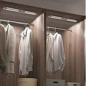 Mymazn 2er Kleiderschrank LED, Schrankleuchten, Wandleuchte, Sensorleuchte, Schrankbeleuchtung für den Innen- und Außenbereich Schrankküche, Keine Werkzeuge erforderlich 13 Zoll lang