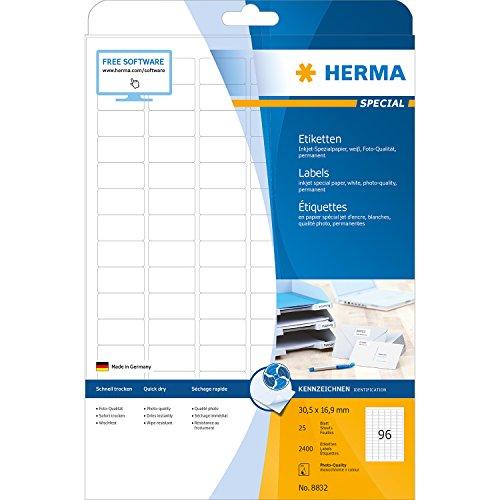 Preisvergleich Produktbild Herma 8832 Inkjet-Etiketten Foto-Qualität (30,5 x 16,9 mm auf DIN A4 Papier matt) weiß, 2.400 Stück, Tintenstrahldrucker-geeignet