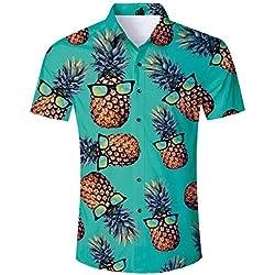 ALISISTER Camisa Hawaiana Hombre Manga Corta con Estampado de piña Camisa Luau de Hawai Tropical Hombres Casual Retro Aloha Holiday Button Down Vacation Shirts XL