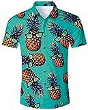 ALISISTER Hawaii Hemd Kurzarm Tropical 3D Muster Urlaub Hawaiihemd Ananas Herren Button Down Fancy Kurzarm T-Shirt Lustige Party Aloha Blau Shirt für Männer XXL