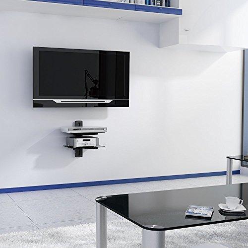 Mensole Sospese In Vetro.Vonhaus 2 Mensole Sospese In Vetro Nero Ultra Resistente Per Lettore Dvd Satellite Console Tv Accessori Altoparlanti