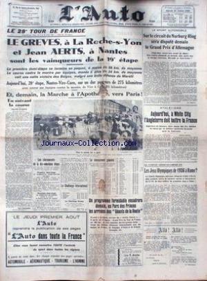 AUTO (L') [No 12641] du 27/07/1935 - SUR LE CIRCUIT DE NURBURG-RING - LE 20EME TOUR DE FRANCE - LE GREVES - JEAN AERTS - ATHLETISME - WHITE CITY - L'ANGLETERRE DOIT BATTRE LA FRANCE - LES JEUX OLYMPIQUES DE 36 A ROME.
