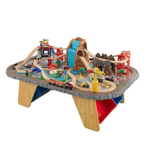 KidKraft Waterfall Junction 112-Piece Train Set & Table Made of Composite Wood Materials with Molded Plastic for Kids 3 Years