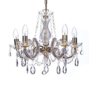 Marco Tielle Marie Therese Style Chandelier With Crystal Glass Column Body, Acrylic Arms, Beads & Sconces Finished in Gold Finish by Marco Tielle