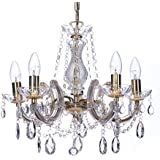 Marco Tielle Marie Therese Style Chandelier With Crystal Glass Column Body, Acrylic Arms, Beads & Sconces Finished in Gold Finish