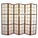 Paravent japonais Shoji en bois brun foncé de 6 pans -PEGANE-