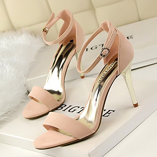LGK&FA Simple Et Élégant En Métal Haut Talon Sandale En Daim Avec Une Femme Chaussure Talon Haut 39 Pink