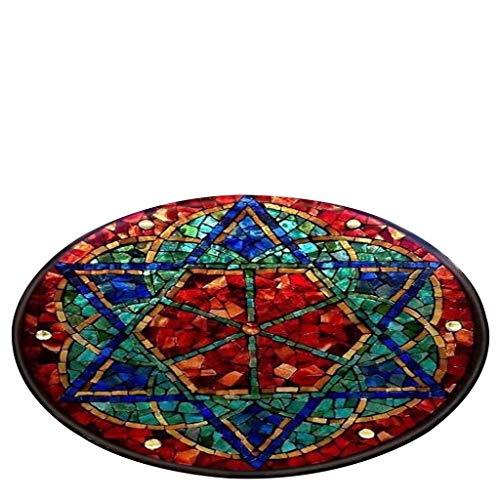 SHOBDW Vintage Stil Notre Dame de Paris Glasfenster gemaltes Digitaldruckteppich Drucken Tapisserie 80 cm in Diameter Runde Küche und Anti-Rutsch-Matte Badteppich