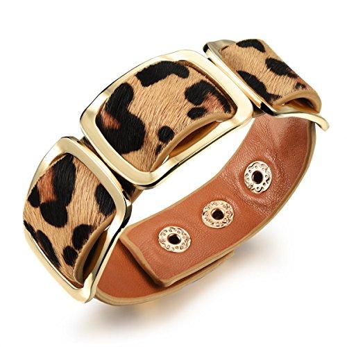 Preisvergleich Produktbild LZHMLadies Pferdehaar Breite Version Armband Gürtel Modelle Höhenverstellbar Lederarmband Retro Zubehör,Leopard