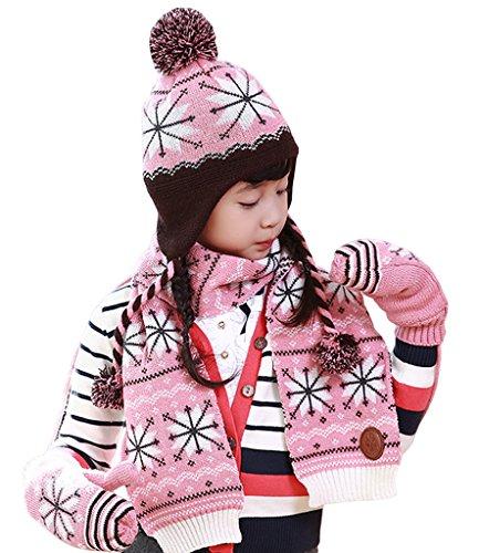 Smile YKK Winter Warmer Kinder Junge Mädchen Gestrickt Bommelmütze Strickmütze Wintermütze Pelzmütze Beanie Mütze Set inkl Schal L...