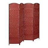 Relaxdays Paravent BYÖBU hoch H x B x T: 179 x 180 x 2 cm faltbarer Sichtschutz aus 4 Elementen auch als Raumteiler mit Bambus Streben Spanische Wand und blickdichter Raumtrenner aus Holz, rot
