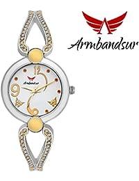 Armbandsur silver, golden & white case & dial watch-ABS0060GSW