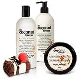 BRUBAKER Happiness 'My Coconut Breeze' Brezza al cocco set beauty in confezione regalo - Gel doccia Lozione e Burro per il corpo ed un Magic Towel