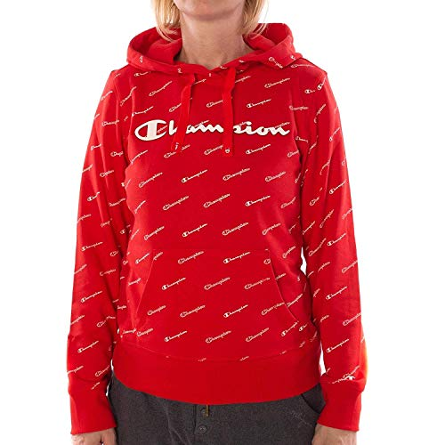 Champion 111276 RL014 All Over Print Logo Hoodie Rot (Champion Pullover)