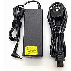 Piezas-portatiles Chargeur avec adaptateur secteur pour ordinateurs portables Toshiba Satellite Séries A, C, L 19 V 4,74 A ou inférieurs avec embout de 5,5 x 2,5 mm