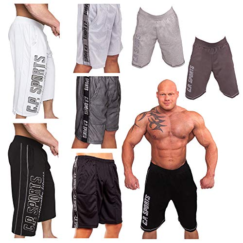 C.P. Sports Kurze Fitnesshose, Bodybuilding Short, Hose Herren, Profi Gym ¾ Trainingshose, Fitness Hose Männer, Bekleidung, S-XXL (Mesh Short anthrazit, XL)