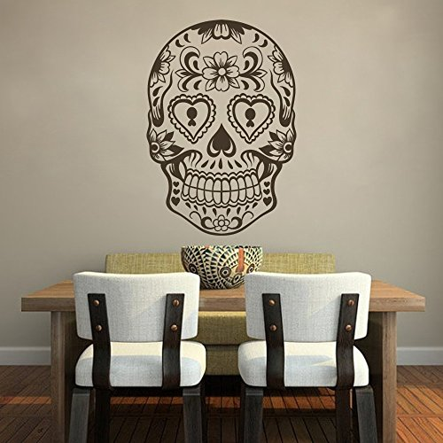 (DigTour WallArt Sugar Skull Wand Aufkleber Skull Wandtattoo Rock und Rolle Wand Decor Vinyl Herren 's Room Art Wand Dekoration Art Deco 42