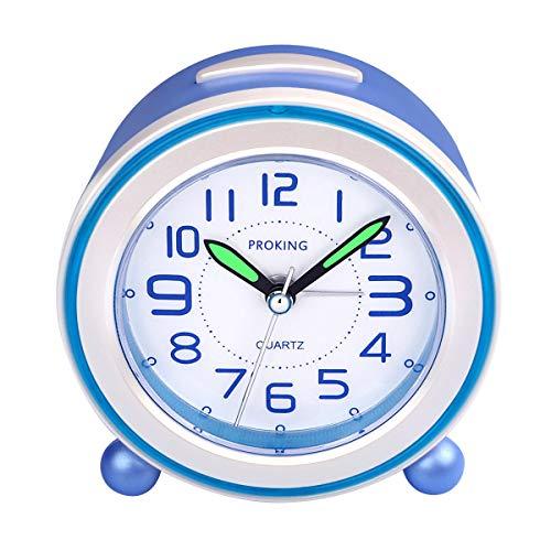 SOCICO Niños Despertadores,Despertadores Despertadores Analógicos para Niños Despertador Silencioso con Manos Luminosas Luz Nocturna para Niños Niñas y Bebés (Azul)