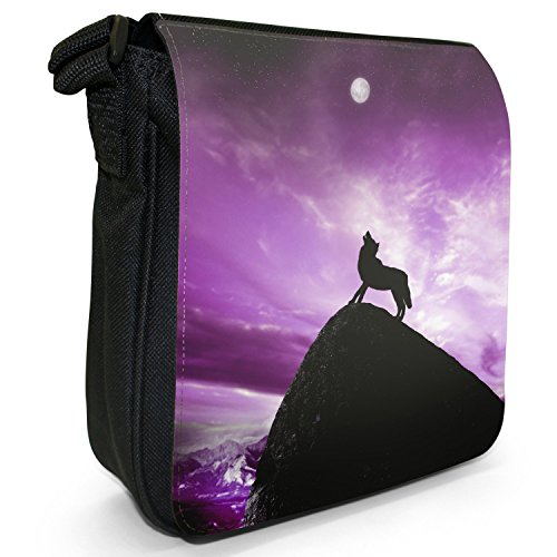 Lupo che ulula alla luna piena-Borsa a tracolla in tela, piccola, colore: nero, taglia: S Purple